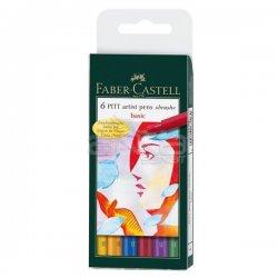Faber Castell - Faber Castell 6 Pitt Artist Pen Fırça Uçlu Çizim Kalemi Basic Tones