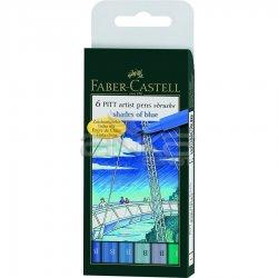 Faber Castell - Faber Castell 6 Pitt Artist Pen Fırça Uçlu Çizim Kalemi Blue of Shades