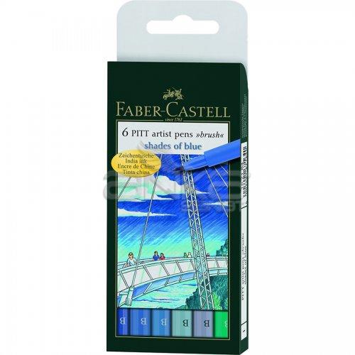 Faber Castell 6 Pitt Artist Pen Fırça Uçlu Çizim Kalemi Blue of Shades