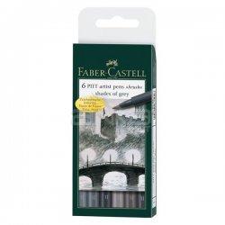 Faber Castell - Faber Castell 6 Pitt Artist Pen Fırça Uçlu Çizim Kalemi Grey Tones