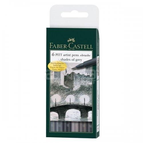 Faber Castell 6 Pitt Artist Pen Fırça Uçlu Çizim Kalemi Grey Tones
