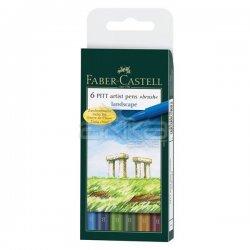 Faber Castell - Faber Castell 6 Pitt Artist Pen Fırça Uçlu Çizim Kalemi Landscape