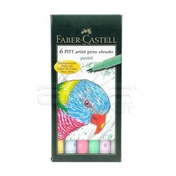 Faber Castell - Faber Castell 6 Pitt Artist Pen Fırça Uçlu Çizim Kalemi Pastel 167163