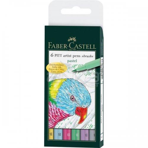 Faber Castell 6 Pitt Artist Pen Fırça Uçlu Çizim Kalemi Pastel Tones