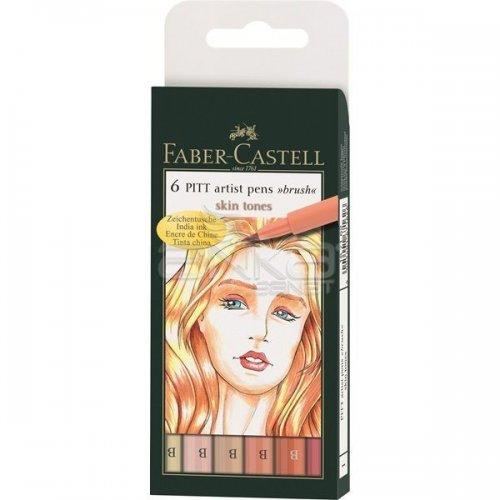 Faber Castell 6 Pitt Artist Pen Fırça Uçlu Çizim Kalemi Skin Tones