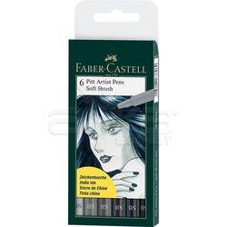 Faber Castell 6 Pitt Artist Pen Fırça Uçlu Çizim Kalemi Soft Brush 167806 - Thumbnail