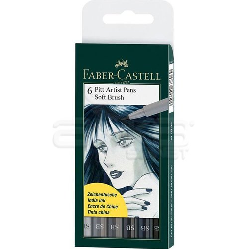 Faber Castell 6 Pitt Artist Pen Fırça Uçlu Çizim Kalemi Soft Brush 167806