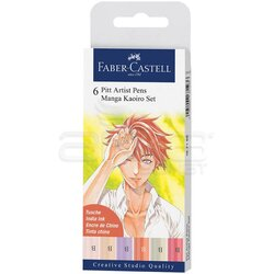 Faber Castell 6 Pitt Artist Pen Manga Kaoiro Set 167168 - Thumbnail