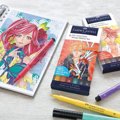 Faber Castell 6 Pitt Artist Pen Manga Kaoiro Set 167168