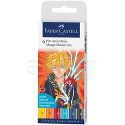 Faber Castell - Faber Castell 6 Pitt Artist Pen Manga Shonen Set 167157