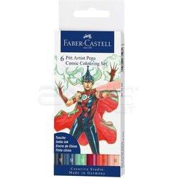 Faber Castell - Faber Castell 6 Pitt Artist Pen Manga Superhero Set 267196