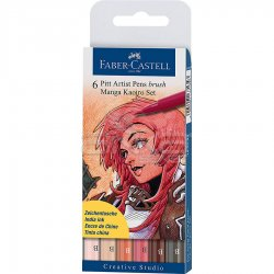 Faber Castell - Faber Castell Pitt Artist Pen Brush Manga Çizim Seti 6lı Kaoiro Set