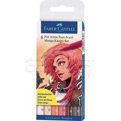 Faber Castell - Faber Castell Pitt Artist Pen Brush Manga Çizim Seti 6lı Kaoiro Set (1)