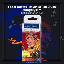 Faber Castell - Faber Castell Pitt Artist Pen Brush Manga Çizim Seti 6lı Shonen Set (1)