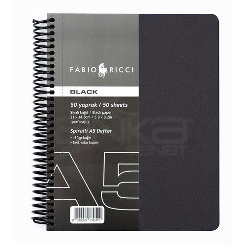 Fabio Ricci Black Siyah Çizim Defteri Spiralli 50 Yaprak 150g