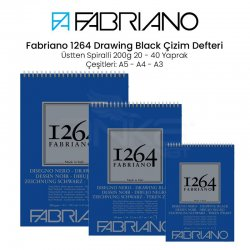 Fabriano - Fabriano 1264 Drawing Black Paper Siyah Çizim Defteri Üstten Spiralli 200g