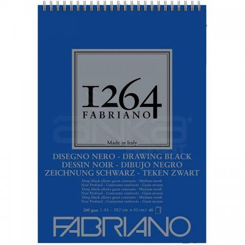 Fabriano 1264 Drawing Black Paper Siyah Çizim Defteri Üstten Spiralli 200g