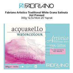 Fabriano Artistico Traditional White Grana Satinata Hot Pressed 300g 12,5x18cm 25 Yaprak - Thumbnail