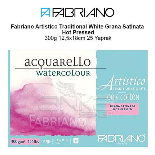 Fabriano Artistico Traditional White Grana Satinata Hot Pressed 300g 12,5x18cm 25 Yaprak