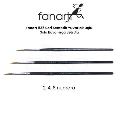 Fanart 535 Seri Sentetik Yuvarlak Uçlu Sulu Boya Fırça Seti 3lü