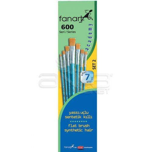 Fanart Academy Seri 600 Yassı Uçlu Fırça Seti No:2 7li