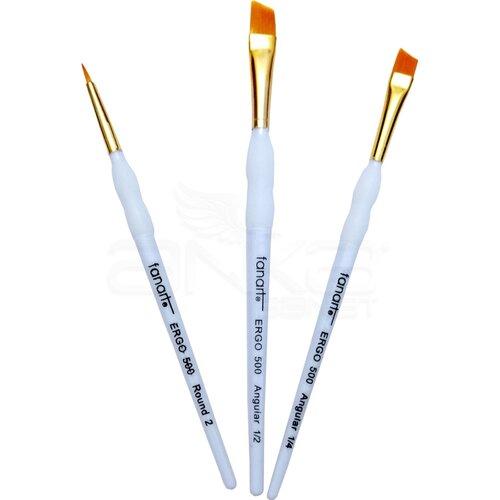 Fanart Ergonomik Altın Taklon Fırça Seti 500 Seri 3lü Set 2