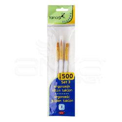 Fanart - Fanart Ergonomik Altın Taklon Fırça Seti 500 Seri 3lü Set 3