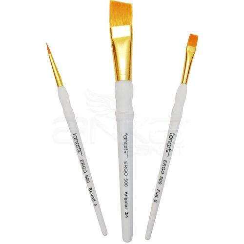 Fanart Ergonomik Altın Taklon Fırça Seti 500 Seri 3lü Set 6