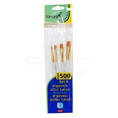 Fanart Ergonomik Altın Taklon Fırça Seti 500 Seri 4lü Set 4