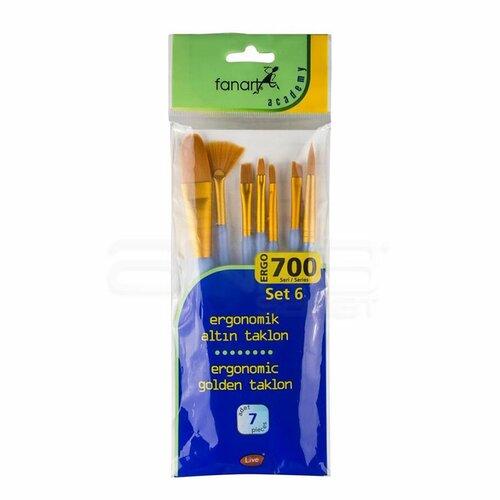 Fanart Ergonomik Altın Taklon Fırça Seti 700 Seri 7li Set 6