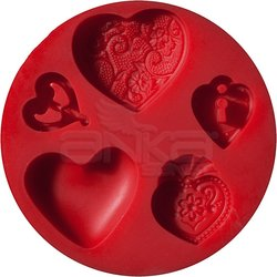 Fimo - Fimo Silikon Desen Kalıbı Kalpler 872523 (1)