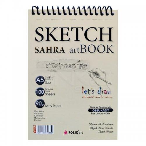 Folix Art Sahra Sketch Art Book Spiralli Çizim Defteri 90g