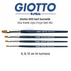 Giotto - Giotto 600 Seri Sentetik Düz Kesik Uçlu Fırça Seti 4lü F-2