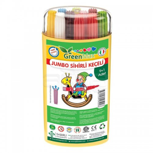GreenMax Jumbo Sihirli Keçeli 9+1 Renk