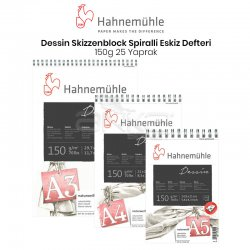 Hahnemühle Dessin Skizzenblock Spiralli Eskiz Defteri 150g 25 Yaprak - Thumbnail