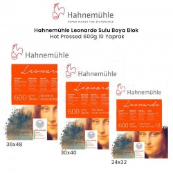 Hahnemühle - Hahnemühle Leonardo Sulu Boya Blok Defter Hot Pressed 600g 10 Yaprak