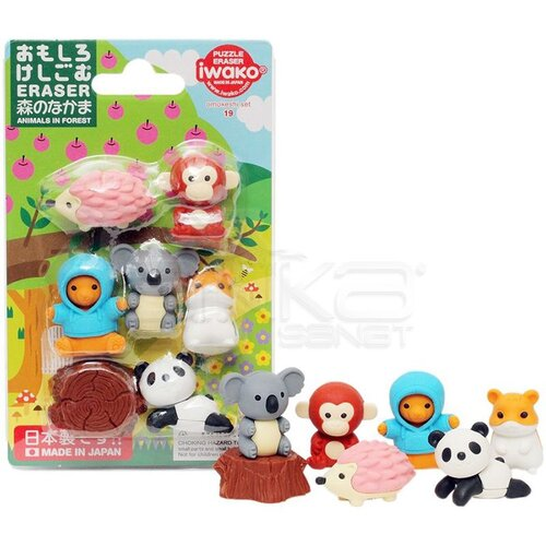 Iwako Puzzle Silgi 7li Animals in Forest