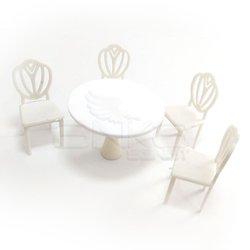 Jordania - Jordania Maket Yuvarlak Masa ve 4 Sandalye 1/25 EF4025-02Y (1)