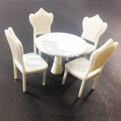 Jordania Maket Yuvarlak Masa ve Sandalye Seti 1/25 5li 4025-01K - Thumbnail