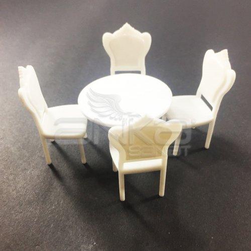 Jordania Maket Yuvarlak Masa ve Sandalye Seti 1/25 5li 4025-01K