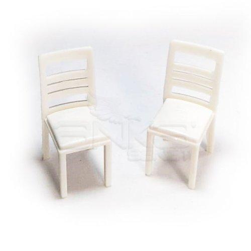 Jordania Sandalye Maketi Beyaz 1/25 2li EF3025-04