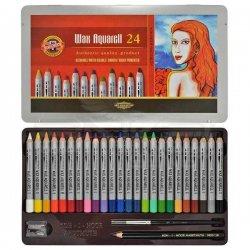 Koh-i-Noor - Koh-i-Noor Wax Aquarell Sulandırılabilir Pastel Boya Seti 24 Renk