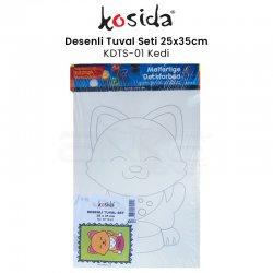 Kosida - Kosida Desenli Tuval Seti 25x35cm Kedi No:KDTS-01