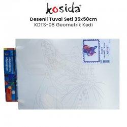 Kosida - Kosida Desenli Tuval Seti 35x50cm Geometrik Kedi No:KDTS-08