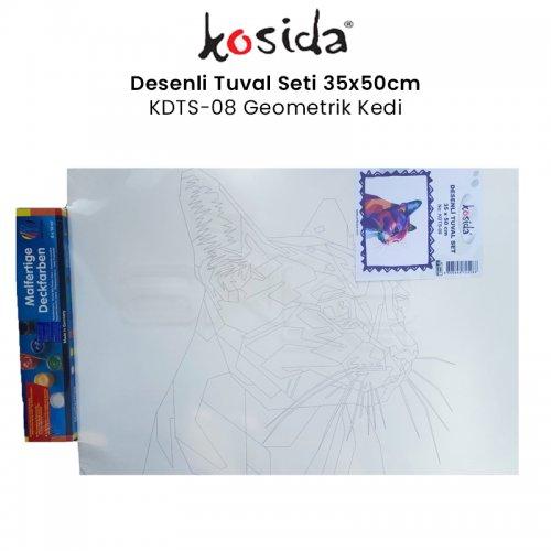 Kosida Desenli Tuval Seti 35x50cm Geometrik Kedi No:KDTS-08