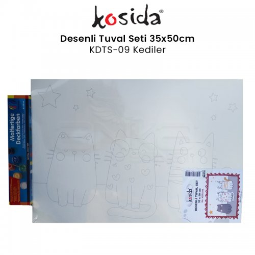 Kosida Desenli Tuval Seti 35x50cm Kediler No:KDTS-09