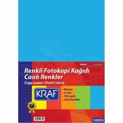 Kraf - Kraf Renkli Fotokopi Kağıdı Canlı 5 Renk 100lü