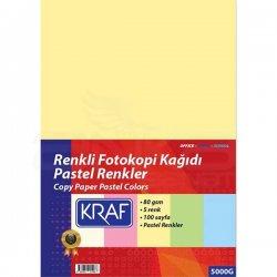 Kraf - Kraf Renkli Fotokopi Kağıdı Pastel 5 Renk 100lü
