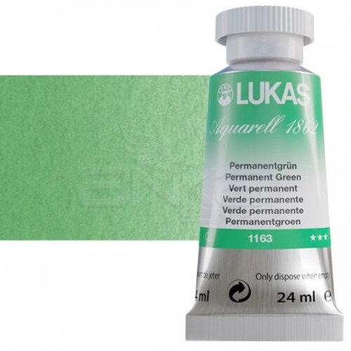 Lukas Aquarell 1862 Artist 24ml Sulu Boya 1163 Permanent Green Seri 2 - 1163 Permanent Green