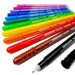 Lyra - Lyra Graduate Fineliner İnce Uçlu Kalem 0.5mm 15li Set Sıcak Renkler (1)